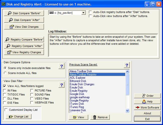 Click to view Disk and Registry Alert 2.14d screenshot