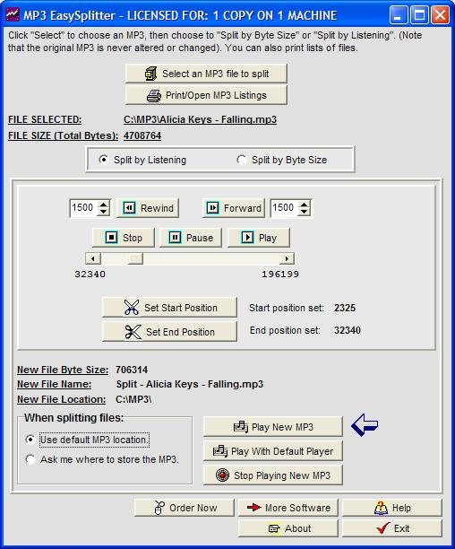 Click to view MP3 EasySplitter 2.09 screenshot