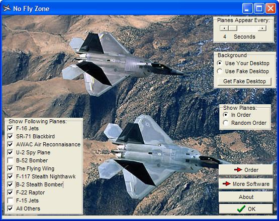 Watch moving animations of military fighter jets cruising on your screen. Screen Shot