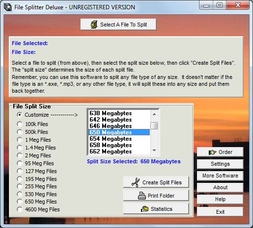 Click to view File Splitter Deluxe screenshots