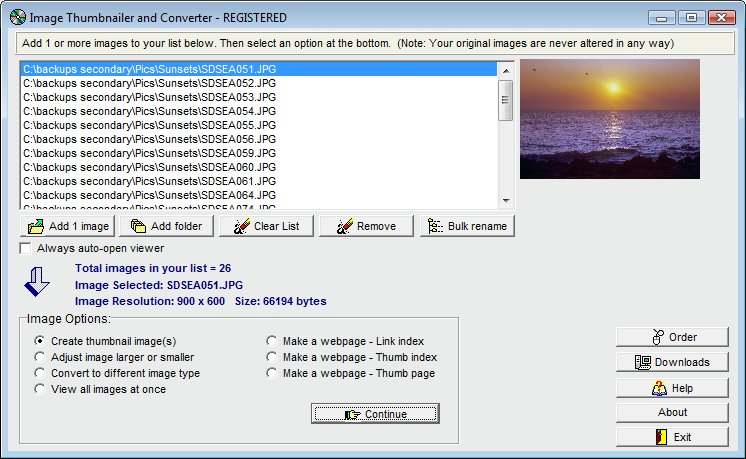 Click to view Image Thumbnailer and Converter 2.4 screenshot